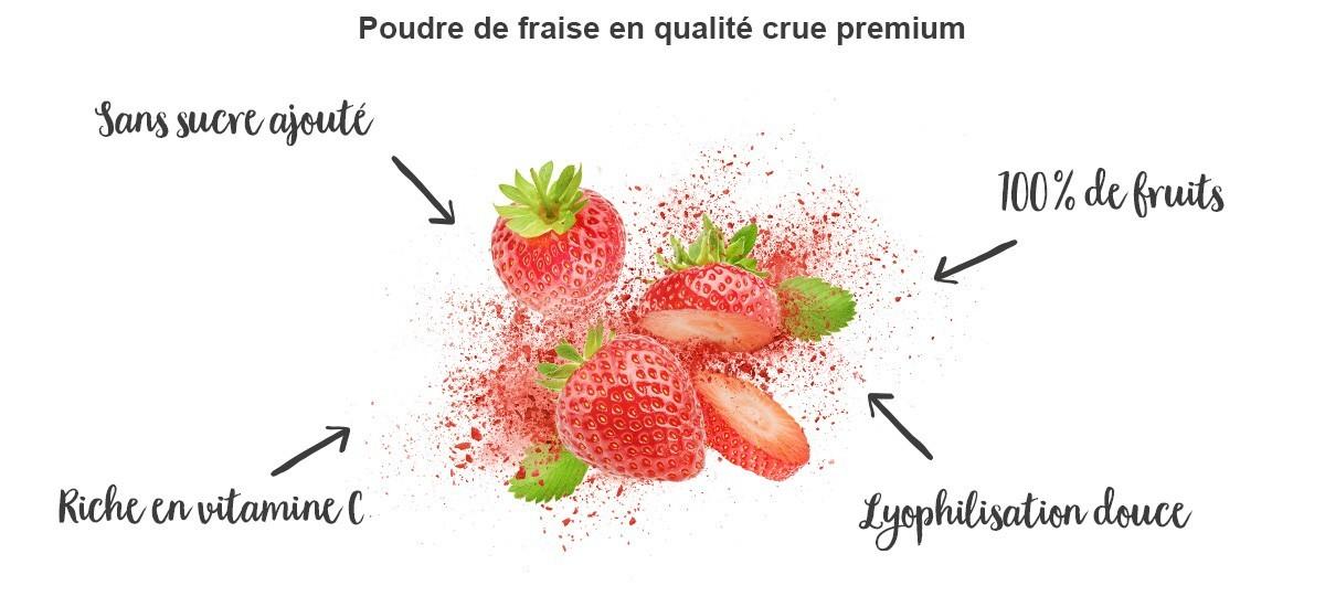 Poudre de fraises pure - bienfaits
