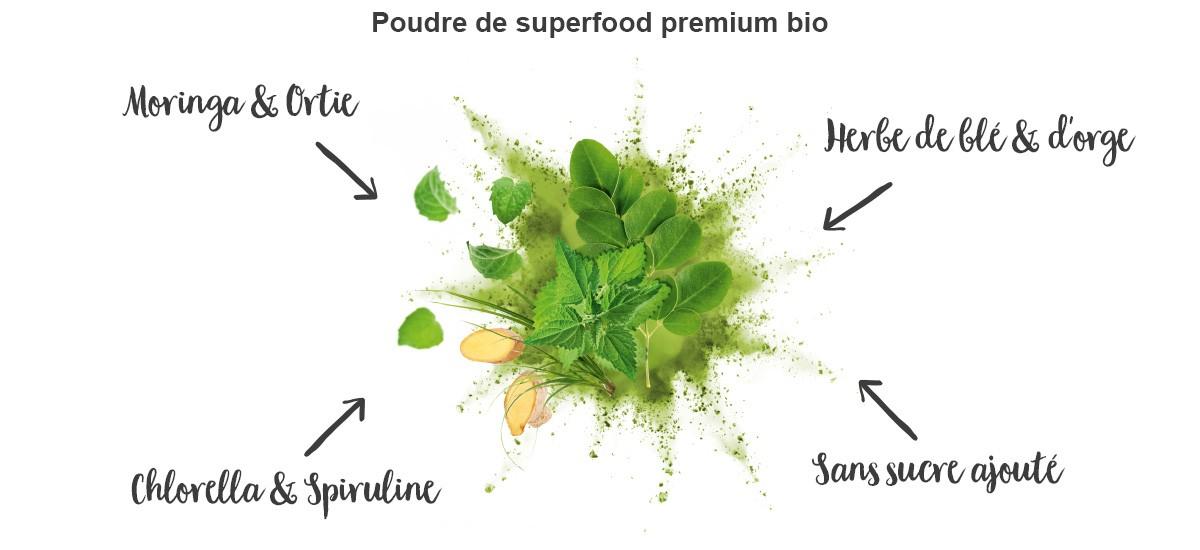 nu3 Poudre de superfood bio pour smoothie, Balance - Propriétés