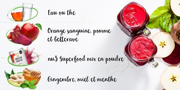 nu3 Bio Superfood en poudre pour smoothie, Immunity - Idée de recette
