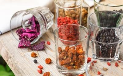 dry, superfoods, goji, aronia, physalis, mulberry, glasses, wood, ground, table